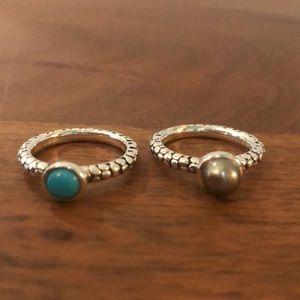 Michael Dawkins Set of 2 Sterling Silver Rings